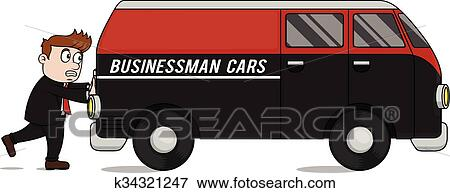 clip art of business man pushing car k34321247 search clipart