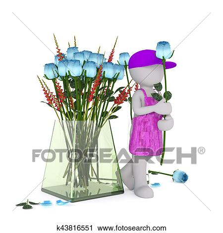 Clipart Of Cartoon Florist With Blue Rose Beside Large Vase