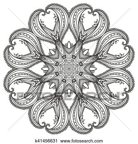 Clipart Circular Floral Ornamento Plantilla Para Tatuaje