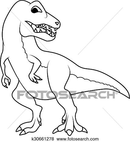 Clip Art Of Coloring Book Tyrannosarus Or T Rex Dinosaur K30661278