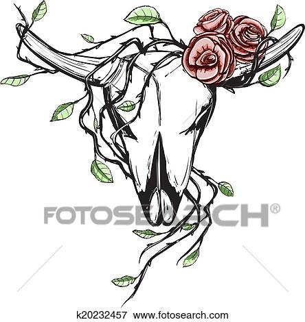 Cow Skull With Romantic Roses Tattoo Clip Art K20232457