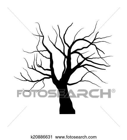 Clipart croquis de arbre mort sans feuilles isol - Croquis arbre ...