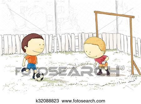 Clipart Ninos Jugar Futbol K32088823 Buscar Clip Art