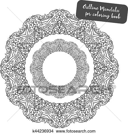Outline Mandala for coloring book. Clipart
