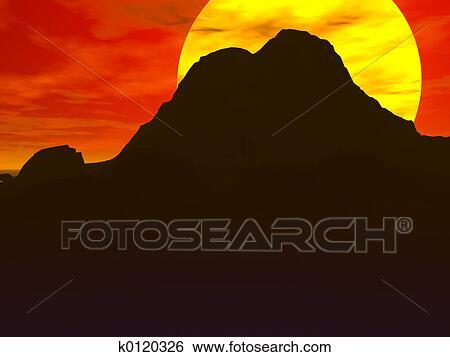 stock illustration of red desert sunrise k0120326 search clip art rh fotosearch com desert sunset clip art free black and white Cartoon Sunrise Clip Art