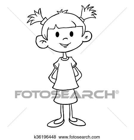 Simple Noir Blanc Petite Fille Dans Robe Clipart
