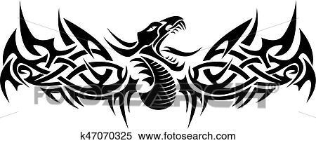 Tribal Dragon Tattoo Clipart K47070325 Fotosearch