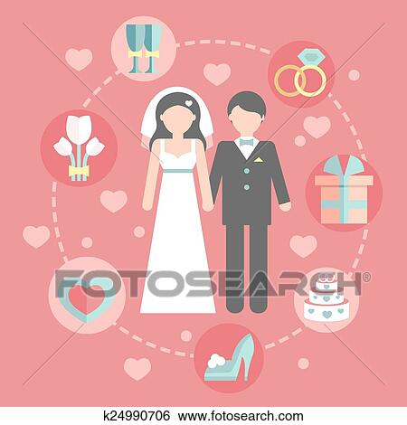 clip art of wedding infographic set with cartoon bride and groom