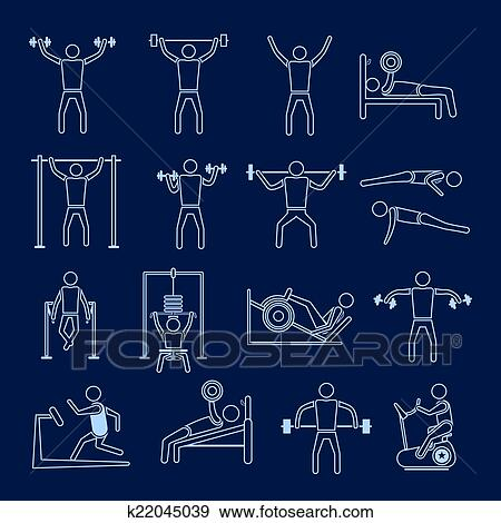 Workout training icons set outline Clip Art | k22045039 ...