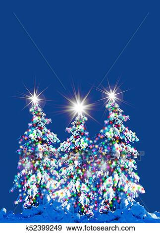 Beautiful Christmas Pictures.Beautiful Christmas Trees Outside Stock Illustration