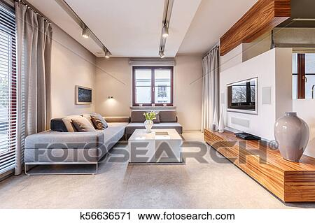 Awesome Big Sofa In Living Room Stock Image K56636571 Fotosearch Machost Co Dining Chair Design Ideas Machostcouk