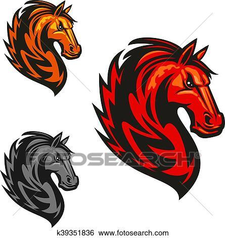 Clipart cheval talon h raldique vecteur ic nes k39351836 recherchez des cliparts des - Clipart cheval ...
