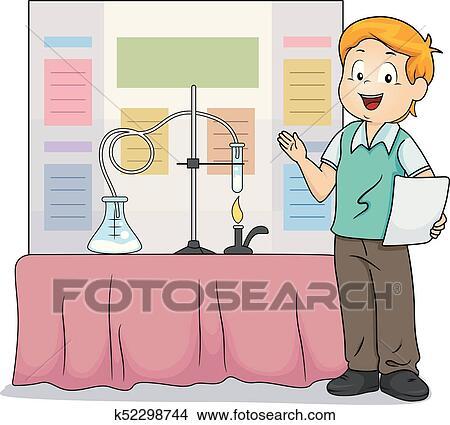 clipart of kid boy science fair presentation illustration k52298744