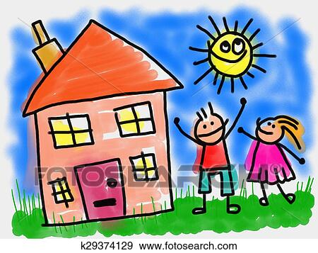 stock illustration of kids and house k29374129 search vector