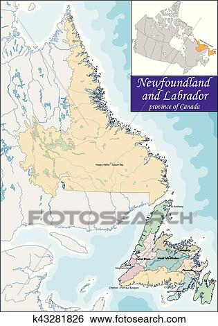Map Of Newfoundland And Labrador Clip Art K43281826