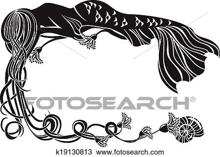 Clipart of Ornate frame, sleeping mermaid k19130813 - Search Clip ...