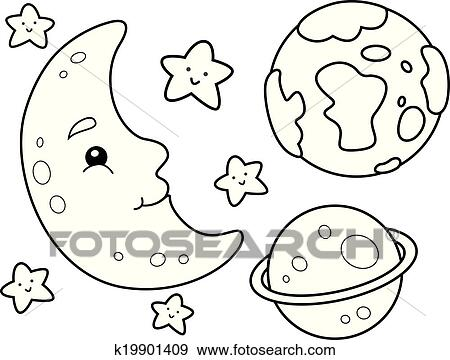Clip Art of Outer Space Coloring Page k19901409 - Search Clipart ...