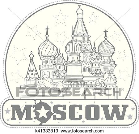 Sticker with Saint Basil's Cathedral in Moscow Clip Art ...
