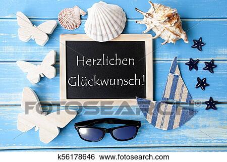 Tafel Mit See Deko Glueckwunsch Mittel Glückwünsche