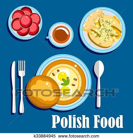 Clipart Traditionelle Polnisch Kuche Essen Und Nachtische