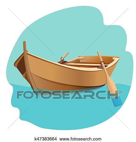 Wooden boat with oars vector illustration isolated on ...