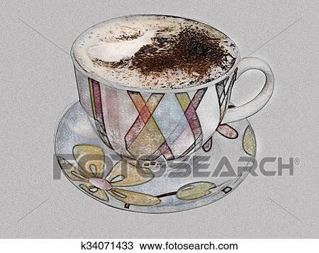 رسم فنجان قهوه تراثي بقلم رصاص Feat