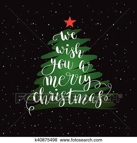 Clip Art Of Calligraphy Lettering Christmas Tree K40875498 Search
