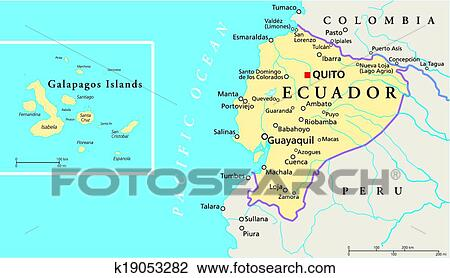 Clipart of ecuador and galapagos islands polit k19053282 search political map of ecuador and galapagos islands with the capital quito national borders most important cities rivers and lakes publicscrutiny Choice Image