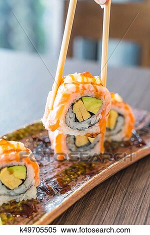Grilled Salmon Sushi Roll Stock Photography K49705505 Fotosearch