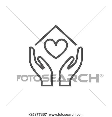 Clip Art Of Hands Holding House Symbol With Heart Shape Line Icon