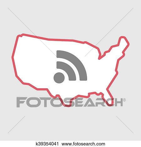 Isolated line art USA map icon with an RSS sign Clipart ...