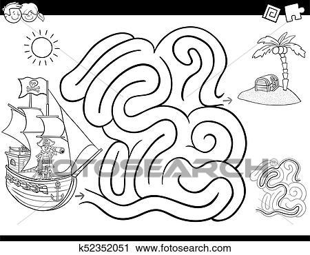 Clipart - laberinto, juego, libro colorear, con, pirata k52352051 ...