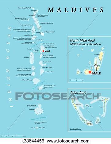 Maldives Political Map Clip Art K38644456 Fotosearch