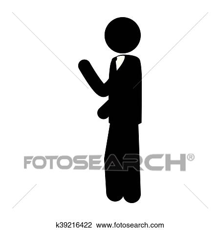 Man side suit tie business icon vector graphic Clipart