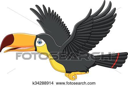 Mignon Dessin Animé Toucan Oiseau Vole Clipart