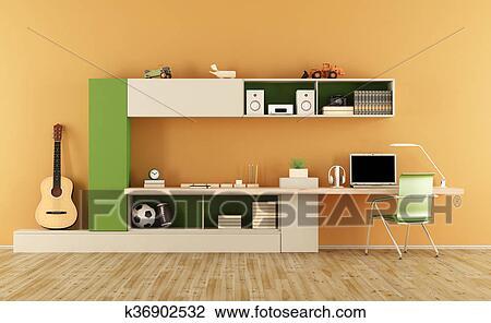 Clip art modernes jugendlich zimmer k36902532 suche - Zimmer jugendlich ...
