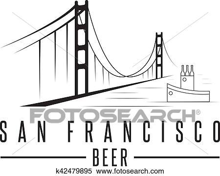 Dessin Du Pont De San Francisco clipart - san francisco, pont porte or, à, bouteilles bière, et