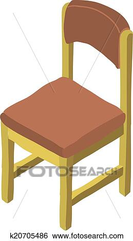 Clip Art Of Vector Cartoon Isometric Wood Chair Icon K20705486