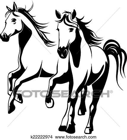 Clipart Wild Pferde Schwarz Weiß Vektor Abbildung K22222974