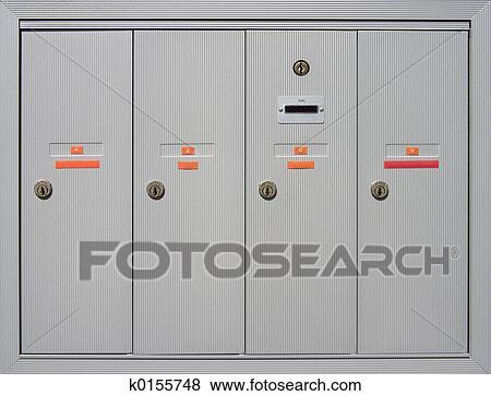 Apartment Mailboxes Stock Photo