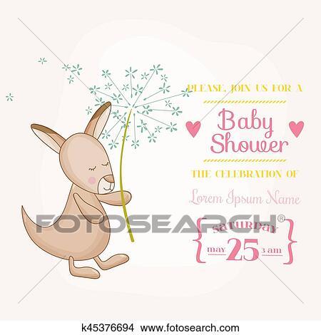clipart of baby girl kangaroo holding flower baby shower or