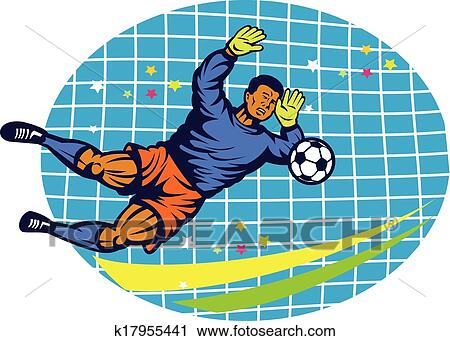 Goalie Football Player Retro Clipart K17955441 Fotosearch
