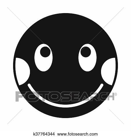 Imbarazzato Emoticon Con Allineato Testo Guance Rosse Icona Archivio Illustrazioni