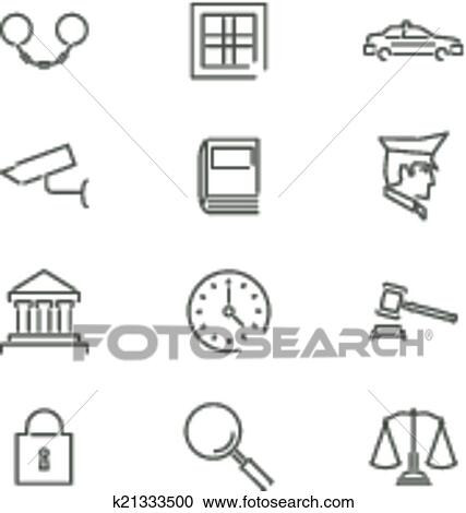 Clipart Of Modern Line Law Legal Justice Icons And Symbols Set For