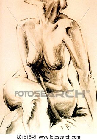 Colección de ilustraciones - mujer desnuda, torso k0151849 - Buscar ...