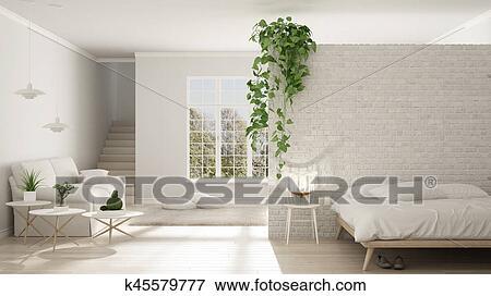 Scandinave, Blanc, Minimaliste, Vivant, à, Chambre à Coucher, Espace  Ouvert, Une, Salle, Appartement, Classique, Conception Intérieur