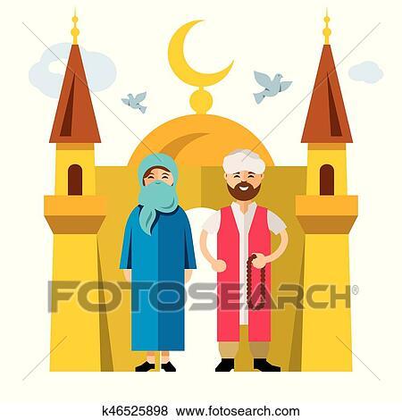 illustration coloré animé et islam style famille vecteur plat dessin musulman Clipart FqTzSvn