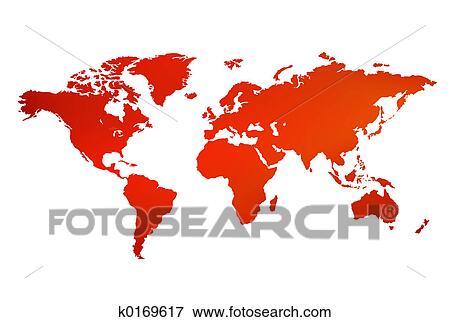 世界地図 イラスト K0169617 Fotosearch