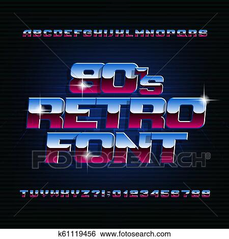 80s retro alphabet font  Uppercase italic shiony letters, numbers and  symbols  Clip Art