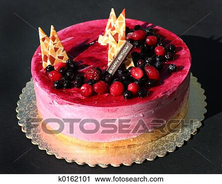 Birthday Cake With Berries And Decorations